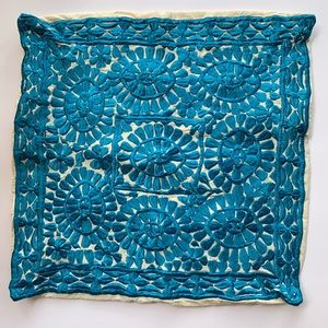 Pillow Case Cover Embroidered Blue With Zipper
